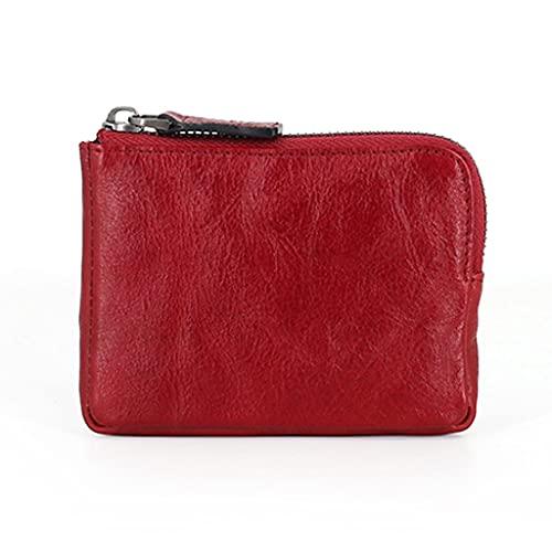 YQQMC Monedero de cuero genuino para hombres, monedero con bolsillo para tarjetas, mini monedero con cremallera, duradero (color: rojo)