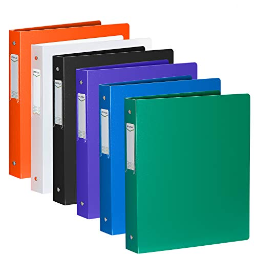"""3 Ring Binder 1 Inch, HYUNLAI 3 Ring Binder, 1 Inch Binder Holds 8.5""""11"""" Paper, Round Ring Binder Suitable for School, Home and Office(6Pack)"""