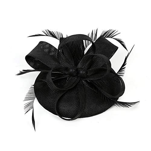 Lurrose Tocados Diadema Flor Té Fiesta Sombreros Vintage Plumas Novia Tocados Accesorios...