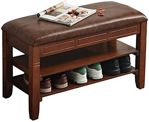 Met Love Zapatillas de zapatos Taburete de almacenamiento Corredor de pasillo Muebles de entrada con cojín de gran capacidad de almacenamiento PU de cuero puede almacenar 6-10 pares de zapatos retro g