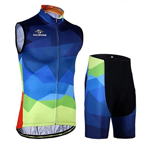 X-Labor, set da ciclismo da uomo, senza maniche, traspirante, taglie grandi, in jersey + pantaloncini con imbottitura 3D, abbigliamento per mountain bike, colore blu sfumato M