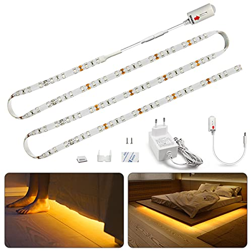 Led Streifen Bewegungssensor, Bason LED Bettlicht Bewegungsmelder Led Strip Warmweiß Dimmbar LED Band Lichtband Unterbauleuchte SchrankLicht Treppenlicht Wasserdicht (1pc)
