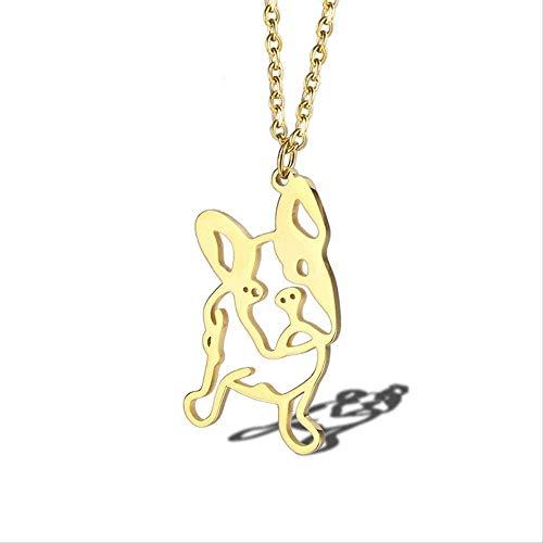 POIUIUYH Co.,ltd Collar Rir Gold Cute English France Bulldog Colgante Collar Geométrico Animal Mascot Pérdida Colgante Joyería Cachorro Rescate Regalo conmemorativo