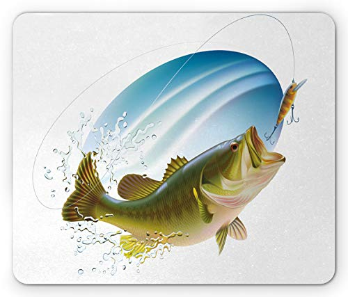 Ambesonne Fishing Mouse Pad, Largemouth Sea Bass Catching a Bite in Water Spray Motion Splashing Wild Image, Rectangle Non-Slip Rubber Mousepad, Standard Size, Green Blue