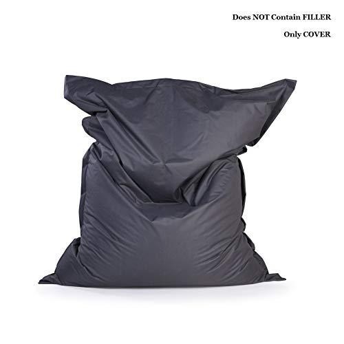 RTMX&kk Piazza Bean Bag Divano Copertura, Senza Filler, Panno di Cotone/Oxfordimpermeabile Lounger sede del Sacchetto di Fagiolo Puff Divano Tatami Mobili da Soggiorno,XXL 180x140cm,Oxford Dark Gray