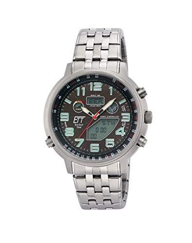 ETT Eco Tech Time Funk Solar Weltzeit Herren Uhr Chronograph mit Edelstahl Armband EGS-11374-50M