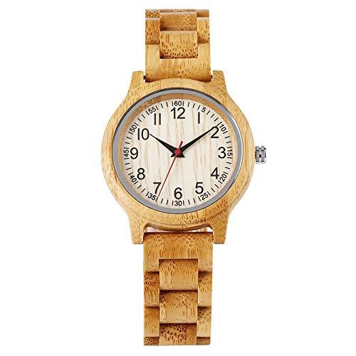 UIOXAIE Reloj de Madera Reloj de Madera Simple para Mujer, Reloj de Madera Natural de bambú, Reloj de Vestir de Cuarzo de Lujo de Marca Superior, Reloj de Madera, Solo Reloj