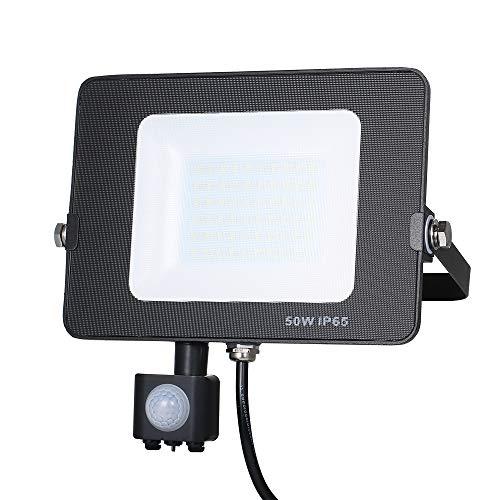 Foco LED Exterior,Tomshine 50W 60LED Foco Led con Sensor de Movimiento PIR, IP65 Impermeable 5000ML 6000K Alto Brillo Floodlight para Puertas de Patio de Jardín Garaje