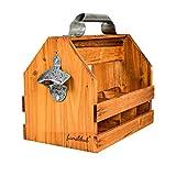 Wooden 6 Pack Vintage Beer Bottle Caddy, Carrier, Holder with Bottle Opener and Removable Inner Divider
