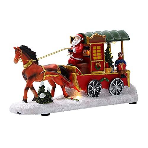 Bartholomew Luminous Christmas Adornos de resina, figuras de Papá Noel Carriage color...