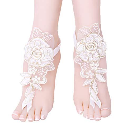 Amosfun tobilleras de boda para mujer nupcial verano sandalias descalzas tobilleras de...