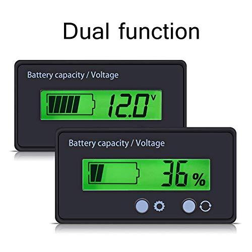 Batteriekapazität Tester & Voltmeter mit LCD-Display Hintergrundbeleuchtung, wasserdichte 12/24/36/48 V Bleisäure Batterieanzeige Spannungs Meter Monitor Detektor für Auto Fahrzeug