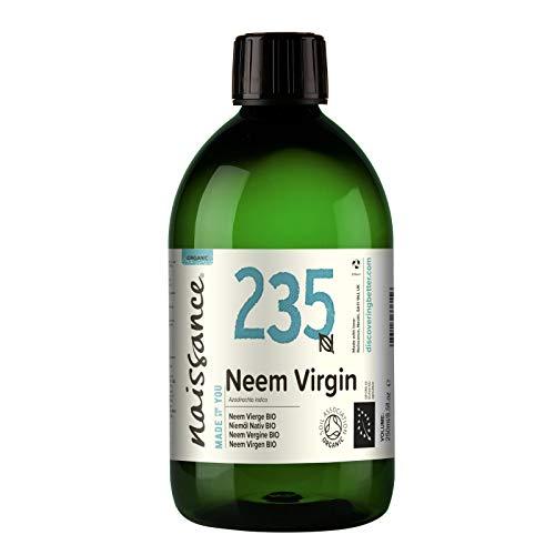 Naissance Aceite Vegetal de Neem Virgen BIO n. º 235 – 500ml - Puro, natural, certificado ecológico, prensado en frío, vegano y no OGM.