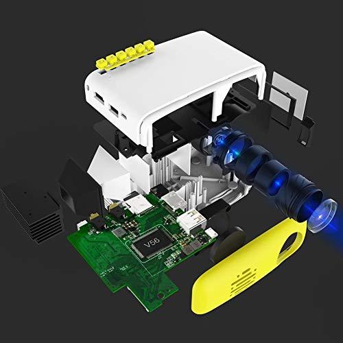 Mini Proiettore Portatile,ASHATA Mini Carino LED HD 1080P proiettore Supporto Smartphone PC portatile TV Box Unità flash USB, TFT LCD multimediale intelligente Home Theater Proiettore (Bianco giallo)