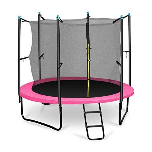Klarfit Rocketboy 250 Tappeto Elastico trampolino da giardino (250 CM, Rete di Sicurezza, aste imbottite, scala, telo antipioggia) rosa