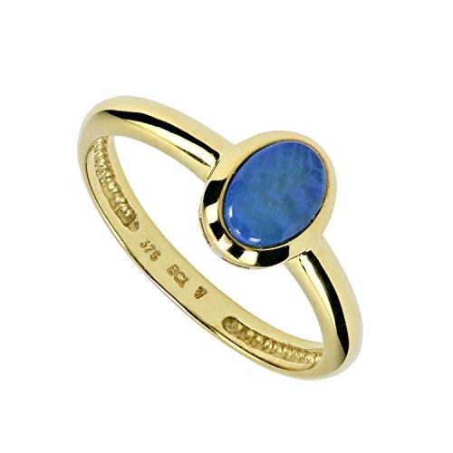 Terra Opalis Damen-Solitär-Ring echt Gold 375 (9 Karat) Kristallopal Opal blau 0,40ct RW19