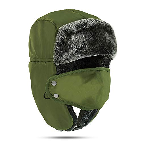 Winter Trapper Hat - Russian Style Ushanka, Trooper, Faux Fur Headwear for Men and Women - Ear Flaps, Chin Strap, Windproof Ski Mask - Covers Full Face - Hunting, Snowboarding Accessories Army Green