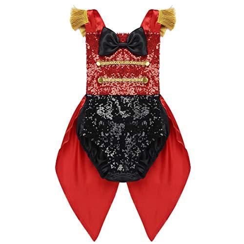 iiniim Mameluco Body con Cola Esmoquin Disfraz Domador Lentejuelas para Bebé Niña Niño Carnaval Disfraz de Circo Adorable Rojo Negro&Rojo 3 años