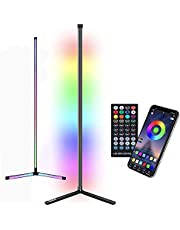 Colour Changing LED Corner Floor Lamp Modern Minimalist with Remote Control Dimmer RGB Color Lamp Soft Lighting for Home Living Room Bedroom Children's Room Warm Atmosphere, 160M Black