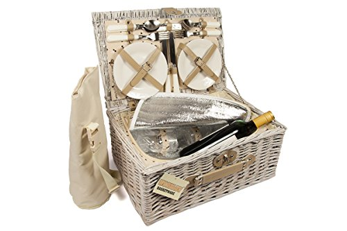 Luxury 4 Person Wicker Chiller Picnic Hamper Basket Easy Carry Handle with...