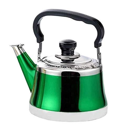 ASDFDG Estufa Top Tetera Hervidor de Gas de Acero Inoxidable Kettle de silbido de Peso Ligero con caño Tradicional o Estufa Tetera Tetera cafetera (Color : Green, Size : 1.5L)