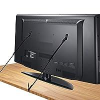 Design Universale: Includeva viti in legno e anche viti di dimensioni diverse per fissare sul retro della TV nei fori VESA in modo funzionare per la maggior parte delle TV a schermo piatto di dimensioni,ad esempio TV Samsung,LG,Sony. Componenti Rimov...