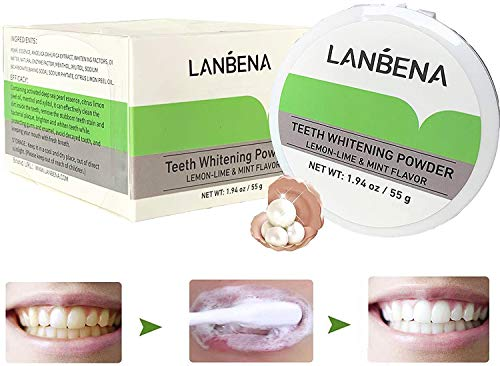 Teeth Whitening ,Remove Stain Coffee Wine Tobacco Stains and Freshen Breath Teeth Whitening Powder Alternative to Toothpaste Mint Flavor 55g / 1.94oz
