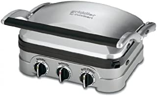Cuisinart 5 In 1 Griddler with Panini Press, Full Grill, Full Griddle and Half Grill/Half Griddle Options, Includes Dishwasher Safe Removable Cooking Plates and Red/Green Indicator Lights