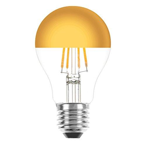 lampadina a filamento LED da 4 W = 40 W con attacco E27, testa a specchio dorato, bianco extra caldo 2200K, stile retro e nostalgia