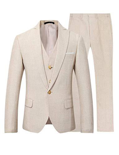 YYI Hombre Traje de Boda de Lino de 3 Piezas Chaqueta Formal de un botón Pantalones de Chaleco