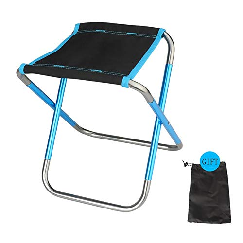 Mini Silla Plegable, el Campamento itinerante Silla portátil con Bolsa de Transporte, de la Estufa Que acampa de la Comida campestre de Viaje (24 x 19 x 4 cm) (Color : Blue)