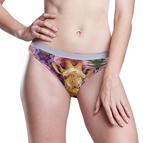 PUXUQU Damen Boxer Slips Höschen Blumen Rose Giraffe Low Rise Unterwäsche Bikini Slips Basic Pants