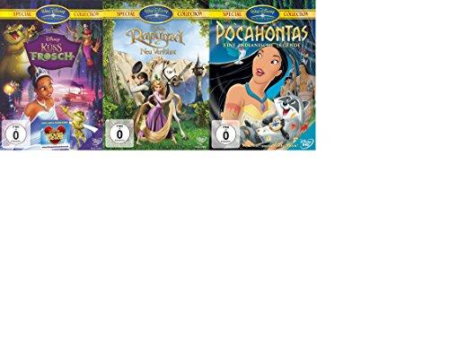 Pocahontas - Eine indianische Legende ,Rapunzel - Neu verföhnt und Küss den Frosch im Disney DVD Set