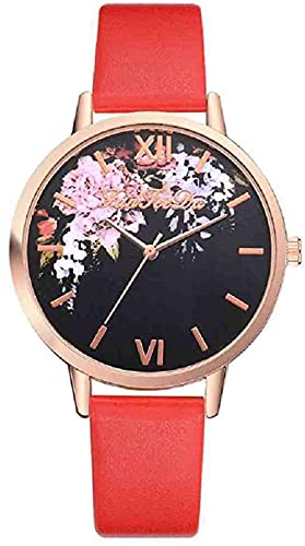 Mano Reloj Reloj de pulsera reloj negro para mujeres banda de cuero acero inoxidable de acero analógico reloj de pulsera señora hembra relojes casual reloj Relojes Decorativos Casuales ( Color : Red )