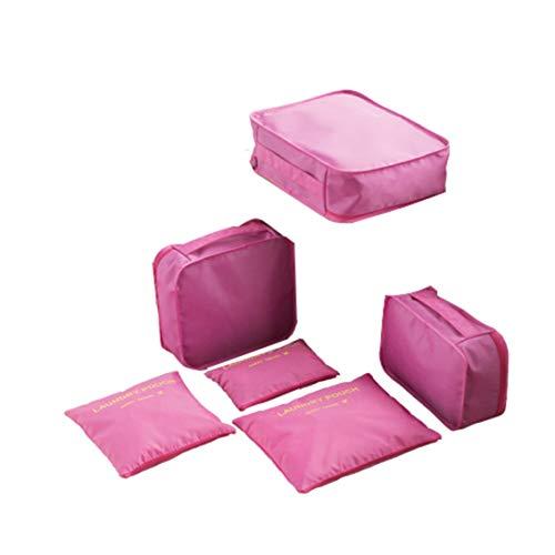 Juego de Cubos de Embalaje de 6 Piezas Bolsas de Viaje Juego de Cajas y Bolsas organizadoras de Equipaje y Maletas a Prueba de Agua-Rosa roja