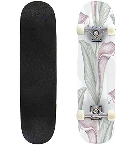 """Lily Flower Watercolor Seamless Pattern Skateboard 31""""x8"""" Double-Warped Skateboards Outdoor Street Sports Skateboard for Beginners Professionals Cool Adult Teen Gifts"""