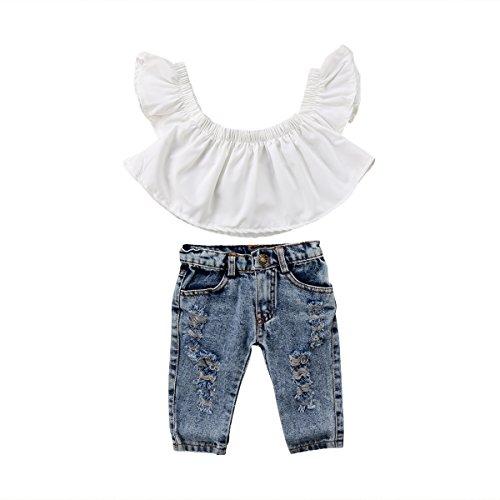 Ropa Conjuntos para Bebé Recién Nacido Niña Moderno 2 Piezas 1 Camiseta de Hombro Descubierto + 1 Pantalones Largos Agujeros Primavera y Verano (Blanco, 3-4 Años)