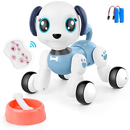 BAZOVE Remote Control Robot Dog Toy for Kids, RC Interactive Intelligent Walking Dancing Pet Robot Puppy with Lights & Sounds, Fun Smart Puppy Toys Gifts for 3 4 5 6 7+ Years Old Boys Girls (Blue)