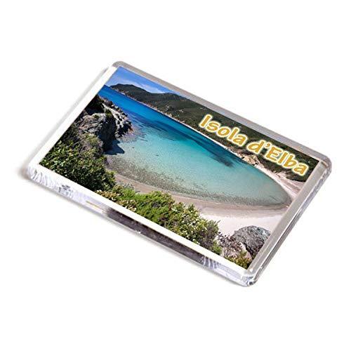 AWS Magnete Isola d'Elba calamita in PVC Rigido Toscana Italia Fridge Magnet da frigo in plastica Dura con Immagine Fotografica Panorama Spiaggia Sabbia Island Italy