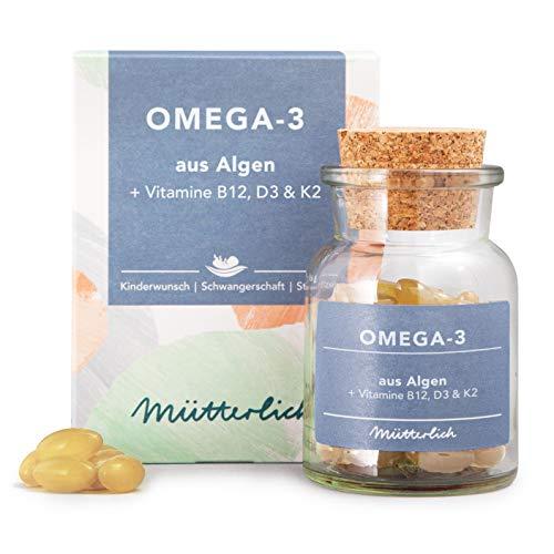 mütterlich Omega-3 + B12 + D3 + K2 | mit DHA & EPA aus Algenöl | Essentielle Ergänzung zu Folsäure Tabletten bei Kinderwunsch, Schwangerschaft & Stillzeit | natürlich | vegan | 90 Kapseln (1 Monat)