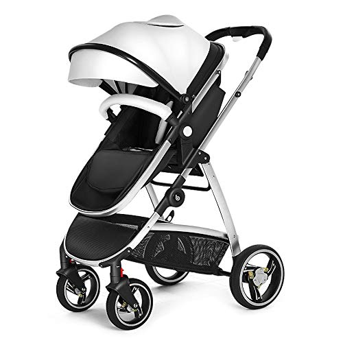 Maydolly Light-Strong 2 in 1 Baby Pushchair & Pram with Footmuffs Reversible Bassinet Stroller Adjustable PU Leather Canopy Newborn to Toddler White