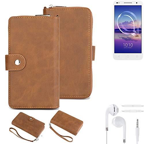 K-S-Trade® Handy-Schutz-Hülle Für -Alcatel U5 HD Dual SIM- + Kopfhörer Portemonnee Tasche Wallet-Case Bookstyle-Etui Braun (1x)
