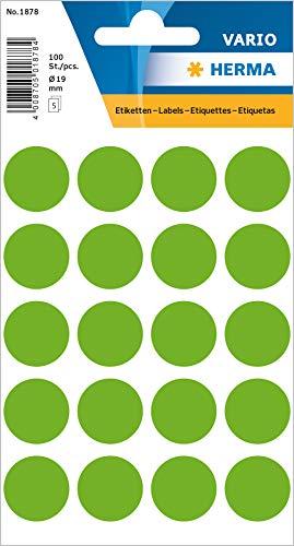 HERMA 1878 Vielzweck-Etiketten / Farbpunkte rund (Ø 19 mm, 5 Blatt, Papier, matt) selbstklebend, permanent haftende Markierungspunkte zur Handbeschriftung, 100 Klebepunkte, leuchtgrün