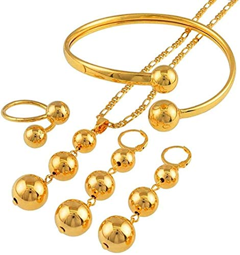 ZPPYMXGZ Co.,ltd Necklace Fashion African Beads Jewelry Sets Necklace Earrings Bangle Ring for Women Trendy Round Ball Jewelry Arab Nigeria Gifts Necklace Length 60cm X 3mm Chain