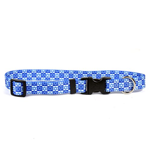 Yellow Dog Design Easy-Snap Pet Collar, Hanukkah Stars, Extra Small 8' - 12'