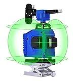 Kreuzlinienlaser,Laserniveaus, Careslong 4 x 360° Laserpegel selbstausgleichende, grüner Strahl 4D 16 Linien, Selbstnivellierende Vertikale/Horizontale/Schrägstrich Linie (2 * 5800 mah Batterie)