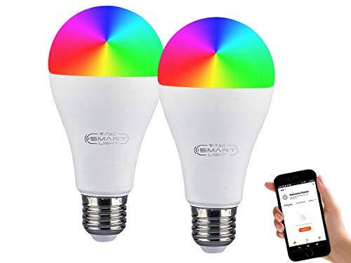 LEDLUX SH02753 2 Pezzi Lampade Led Smart E27 A65 15W 1300lm WiFi RGB CCT Dimmerabile APP Compatible Amazon Alexa Google Home