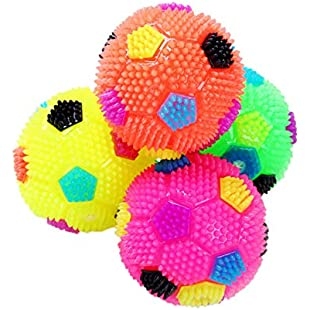 JpGdn 4pcs Dog Soccer Squeak Light Ball Puppy Toys for Small Dogs and Cats Assorted Colors