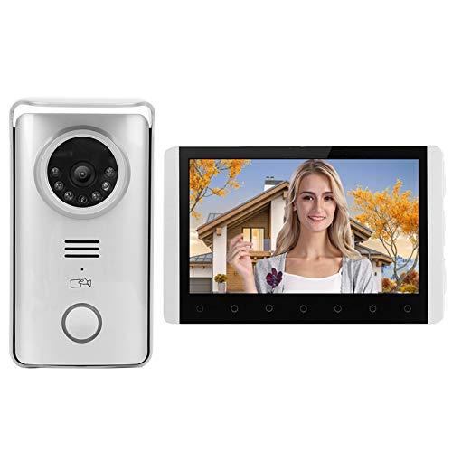 Timbre con Video Inteligente Timbre de Video con intercomunicador bidireccional de 7 Pulgadas, Videoportero inalámbrico 2.4G Timbre con visión Nocturna por Infrarrojos Kit (UE 110-240 V)