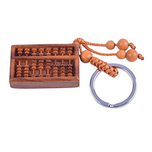 Llavero con diseño de Feng Shui de madera con efecto piel de melocotón ábaco madera tallada amuleto W incluye Mxsabrina rojo Pulsera cuerdas W1039